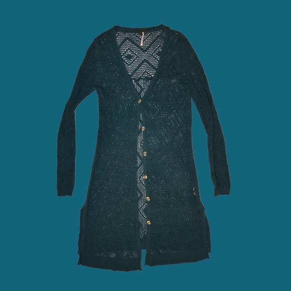 Free People Long Teal Knitted Cardigan